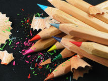 Colored Pencils-Black Background Stock Images