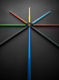 Colored pencils, on black background, Shallow depth of field royalty free stock image
