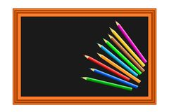 Colored pencils blackboard Royalty Free Stock Images