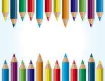 Colored Pencils Border Background Illustration Stock Photo