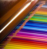 Colored pencils in a box Royalty Free Stock Image