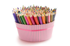 Colored pencils in a box Royalty Free Stock Photography