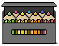 Colored pencils box in big pixels. Isolated colored pencil Royalty Free Stock Photo