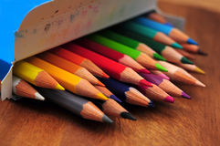 Colored pencils box Royalty Free Stock Photo