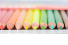 Colored pencils in box, shallow depth of field Royalty Free Stock Image