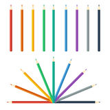 Colored pencils bright colorful set. Vector illustration. Royalty Free Stock Images