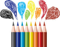 Colored pencils and bubbles Royalty Free Stock Photo