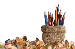 Colored pencils in burlap bag Stock Photo