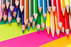 Colored pencils on cardboard. Back to school concept. Royalty Free Stock Photos