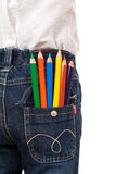 Colored pencils in child back pocket Stock Photography