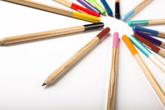 Colored Pencils Circle Royalty Free Stock Photos