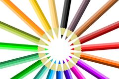 Colored pencils circle Royalty Free Stock Images
