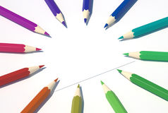 Colored pencils in a circle 2. Colored pencils in a circle, white peace of paper in center Royalty Free Stock Photos