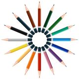 Colored pencils in a circle Royalty Free Stock Image