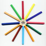 Colored Pencils in a Circle Stock Image