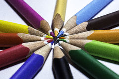 Colored pencils. In a circle Stock Image