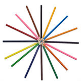 Colored pencils in a circle Stock Images
