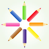 Colored pencils in a circle Stock Photography