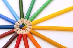Colored pencils in cirle. Close up. stock photography