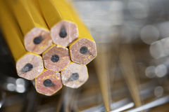 Colored pencils and clips Royalty Free Stock Photo