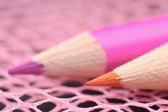 Colored pencils close-up Royalty Free Stock Images