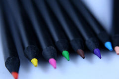 Colored pencils, close-up view Royalty Free Stock Photo