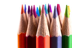 Colored pencils. Close up colored pencils on white isolated background Royalty Free Stock Image