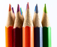 Colored pencils. Close up colored pencils on white isolated background Stock Photos