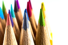 Colored pencils. Close up colored pencils on white isolated background Royalty Free Stock Photo