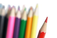 Colored pencils closeup. A horizontal picture Royalty Free Stock Photo