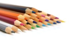 Colored pencils closeup. On white background Stock Images