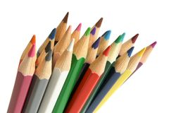 Colored pencils closeup. Colored pencils isolated on the white background Stock Photos