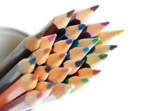 Colored pencils closeup. Colored pencils isolated on the white background Stock Images