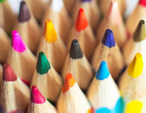 Colored pencils closeup Royalty Free Stock Photos