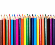 Colored pencils closeup on white background Stock Photo