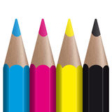 Colored pencils CMYK Royalty Free Stock Images