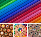 Colored Pencils Collage Stock Photos