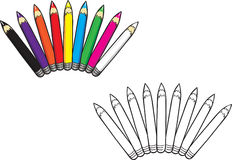 Colored pencils collection coloring book. Cartoon  coloring book illustration of a colored pencils collection Stock Photos