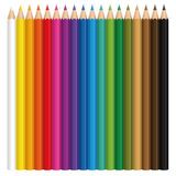 Colored Pencils Collection Set. Colored pencil set with wood textured tips. Illustration over white background vector illustration