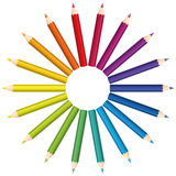 Colored Pencils Color Fan Circle Stock Image