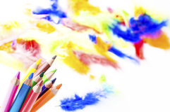 Pencils in colored background. Colored pencils in colored background Stock Photography