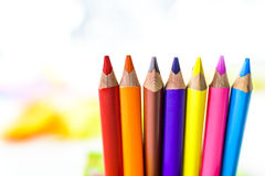 Pencils on colored background. Colored pencils in colored background Royalty Free Stock Images