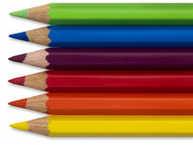 Colored pencils. Colorful sharp bright colored pencils with a clip-path Stock Photos
