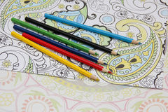 Colored pencils for coloring ornaments. Stock Photography