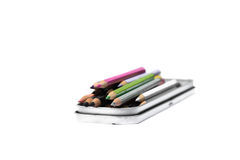 Colored pencils. Colouring pencils that have been used for work Royalty Free Stock Images