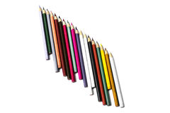 Colored pencils. Colouring pencils that have been used for work Royalty Free Stock Photo