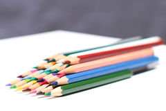 Colored pencils. Colouring pencils that have been used for work Royalty Free Stock Photography