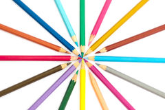 Colored pencils. Colouring pencils that have been used for work Stock Images