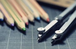 Colored pencils,compass Royalty Free Stock Images