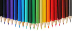 Colored pencils with copy space stock image
